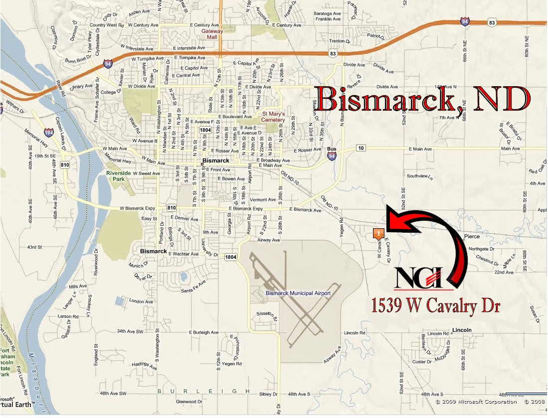 NCI is located in south east Bismarck